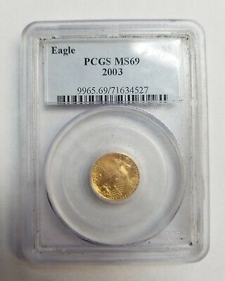 2003 American Eagle  1/10 Oz  $5 Pcgs  Ms69 Gold Coin