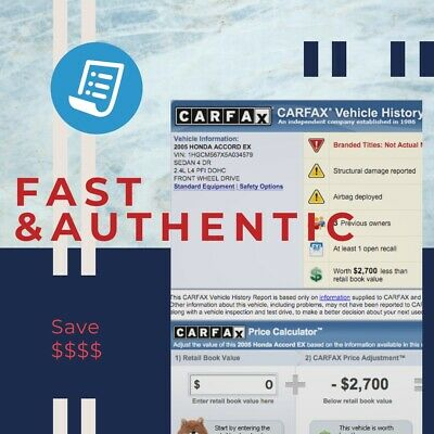 Authentic CARFAX VEHICLE HISTORY Report, Instant response!!  - Over 600 sold