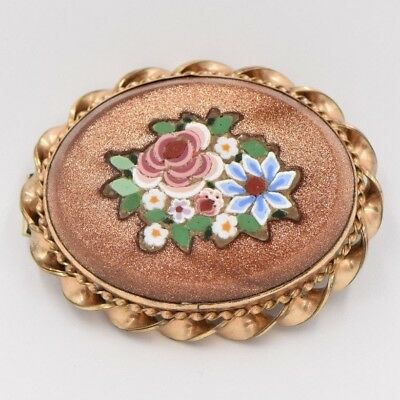 Antique Victorian Oval 14k Yellow Goldstone Floral Micro Mosaic Brooch Pin Italy