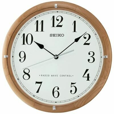 Seiko Wooden Radio Clock Analogue Wall Controlled QXR303Z White Face Home D�cor