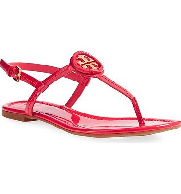 751ed0221238 New  225 Tory Burch Dillan Ruby Jewel Red Gold Patent Leather Flat Sandal 6