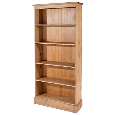Cotswold Solid Pine Quality Tall Open Display Bookcase Unit Antique Wax Finish
