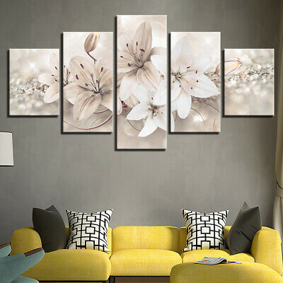 White Lily Flower Abstract Art 5 Pcs Canvas Wall Artwork Home Decor Poster