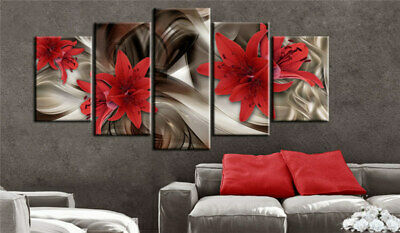 Red Lilies Flower Line Abstract Art 5 Pcs Canvas Wall Artwork Home Decor Poster
