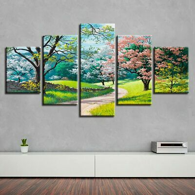 Colorful Flower Blossom Tree in Park 5 Pcs Canvas Wall Artwork Home Decor Poster