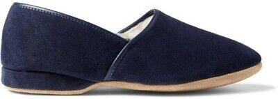 df9ecd41918 NEW DEREK ROSE Crawford Shearling-Lined Suede Slippers Size 10 navy ...