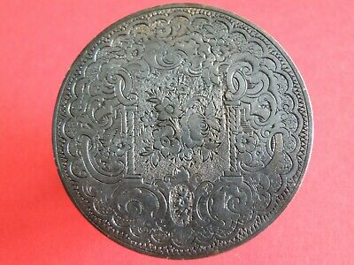 """2"""" Diameter Finely Engraved Metal Disc - Fine Detail - India Possibly?  (Os01)"""