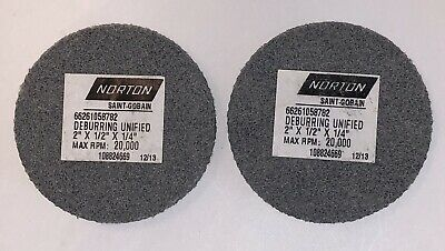 "2 Pcs Norton 2"" X 1/2"" X 1/4"" 220 Grit  Non-Woven Unified Deburring Wheel"