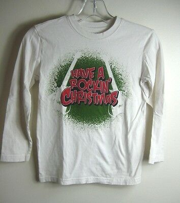 The Children's Place Have A Rockin Christmas Long Sleeve Boys T-Shirt Sz M 7-8 *