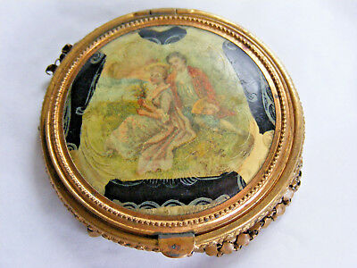 Antique Brass Compact Enameled Man Woman Courting Scene Mesh Bottom S2