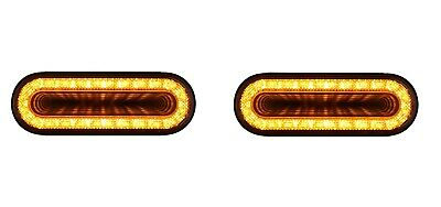 """Pair 6"""" Oval Amber LED Turn Signal Lights, """"MIRAGE"""" Series LEDs w/ Clear Lens"""