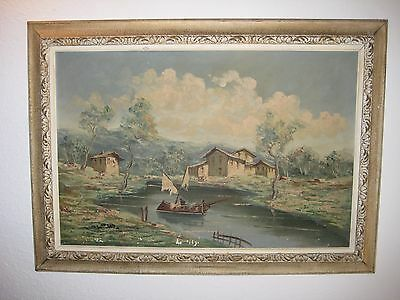 Old Vintage Oil Canvas Painting Signed Italy Landscape Boat Art Fabrizio Bianchi