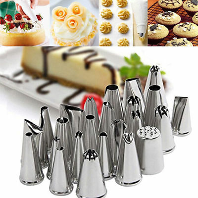 24PCS Sugarcraft Icing Piping Nozzles Tips Pastry Cake Cupcake Decor Tool Bake