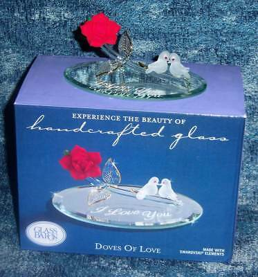 Retired New Glass Baron Rose With Doves Of Love Handcrafted Blown Glass Figurine