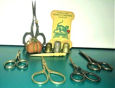 VTG Sewing Lot 5 Scissors 1 Sterling Henkel 3 Thimbles Fid Tomato Pin Cushion