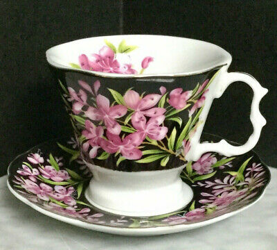 Black Rose Purple Pink Flowers Tea Cup Duo Royal Albert Fireweed Replica?