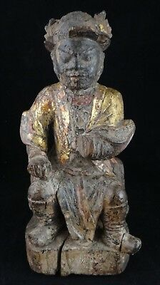 """Antique Chinese Carved Wood Buddhist Deity. 17th/18th c.  9 ¾"""" tall"""