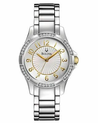 Bulova Women's Gold Accents Crystal Stainless Steel Bracelet Watch 98L175