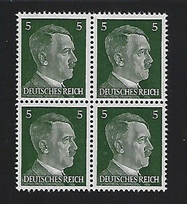 MNH  Adolph Hitler stamp block, 1941, PF05, Original Third Reich Germany Block