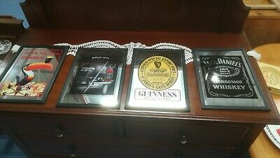 Reproduction Advertising Mirrors X 4, Guinness, Jack Daniels