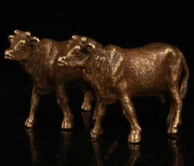 2 Exquisite Chinese Bronze Handmade Carving Cow Statue Gift Collection
