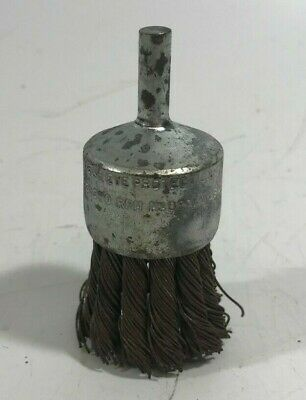 "Weiler 1-1/8"" Twisted Wire End Brush, 1/4"" Shank, 0.014"" Wire Dia., 1-1/8"" - NOS"