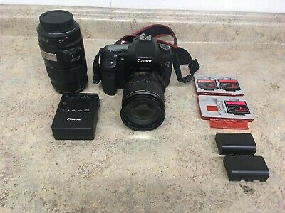 CANON EOS 7D 18MP DS126251 W/ 3 Batteries Extra Lens & 3 8GB Memory Cards