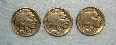 Lot of 3 Buffalo Nickels 1935P, 1936P & 1937P