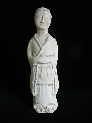 CHINESE Terracotta Clay Female Burial Tomb Figure Statue FEMALE Robed Attendant