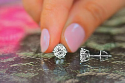 1.50 Ct Round Cut Solitaire Diamond Earring 14K Solid White Gold Stud Earrings