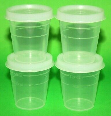 Tupperware Midgets Set of 4 Containers 2 oz. Clear Sheer Little Tupper Minis