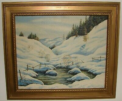 Framed Oil Painting on Board Snow Wintry Landscape Scenery Signed Summers Berger