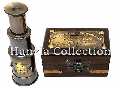 "Marine 6"" Victorian Brass Telescope With Beautiful Decorative Antique Wooden Box"