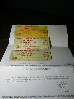 ORIGINAL WOODSTOCK TICKET  August 15,16,17 1969 Lot of 3 Peace Love Music A49 QQ