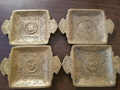Vintage Set of 4 Small Brass Trays or Ashtrays