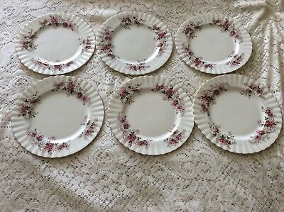 Royal Albert Lavender Rose Bone China England Set of 6 Salad Plates 8 1/4""