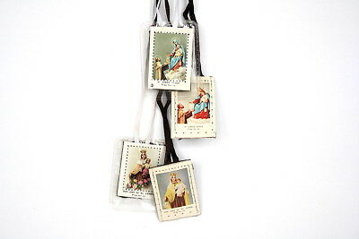 VINTAGE Catholic Scapulars Necklace Holy Scapular Lady Mt Carmel St Simon Stock