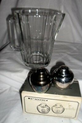 Vintage Clear Glass Water Pitcher Italy WM Rodgers silverplate salt and pepper