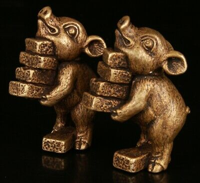 2 Chinese Brass Hand Carving Pig Brick Statue Collection Gift Decoration