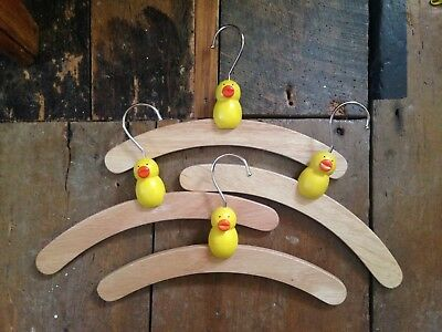 Baby kids nursery vintage retro kitsch wooden duck chick 4 clothes coat hangers