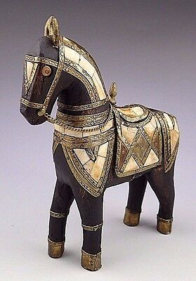 Antique Hand Carved Wooden Armored Horse Hammered Copper Brass Inlay Bone Folk