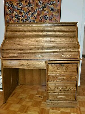 Antique Author's Roll Top Desk Vintage Mahogany Oak Solid Wood Amish Furniture