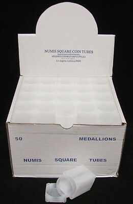 50 SQUARE COIN TUBES - MEDALLION/SILVER ROUNDS, 40mm - NUMIS BRAND