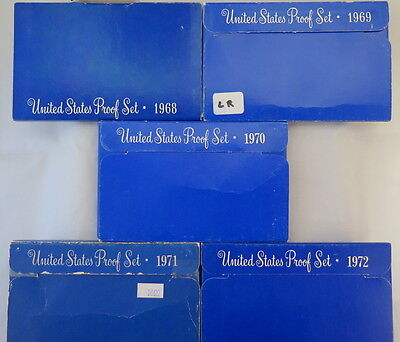 1968 - 1972 U.s. Proof Sets (5 Sets)