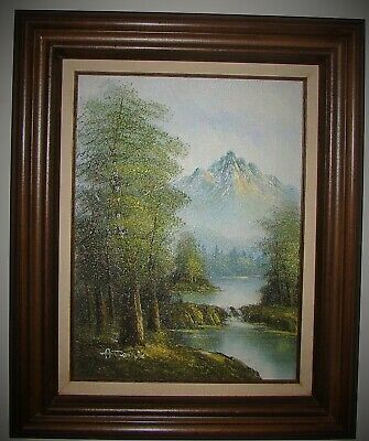 Framed ANTONIO Oil Painting on Canvas Landscape Mountain Stream Waterfall Scene