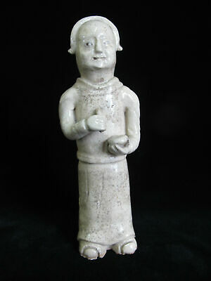 CHINESE Glazed Clay Pottery Tomb Figurine Statue of Man Holding Mortar & Pestle
