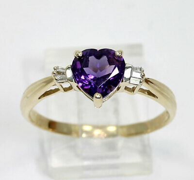 Diamond amethyst ring 14K yellow gold heart brilliant 6 baguettes 1.60CT size 12