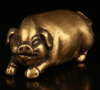 Chinese Brass Hand Carving Pig Statue Collection Cute Gift Decoration