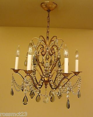 Vintage Lighting antique 1960s Lightolier crystal chandelier