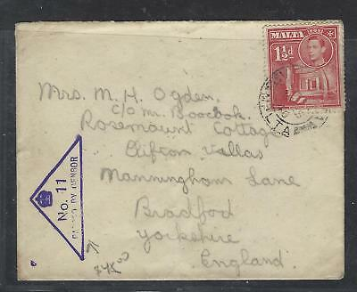 Malta (P3004B) Kgvi 1 1/2D Triangle Passed By Censor No 11 To England